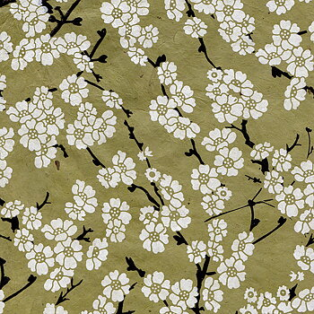 Japanese flower print, green