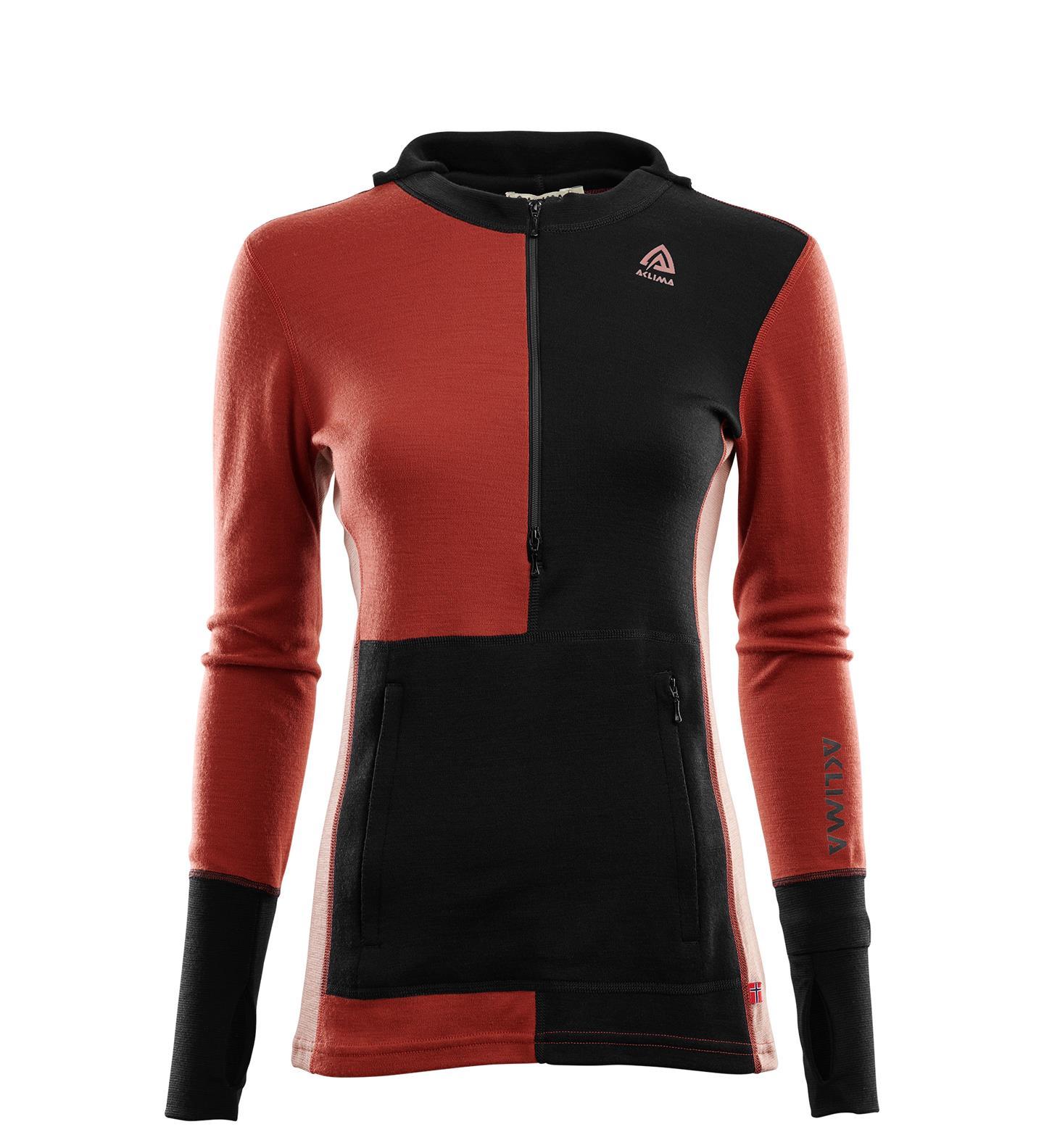 Aclima Warmwool Hooded Sweater w/zip Dam Jet Black / Red Ochre / Cognac - UTFÖRSÄLJNING