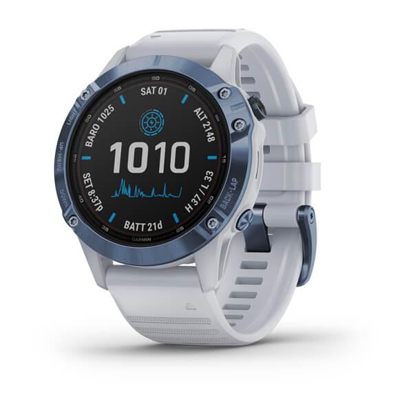 Garmin Fenix 6 Pro Solar Mineralblå med vitt armband