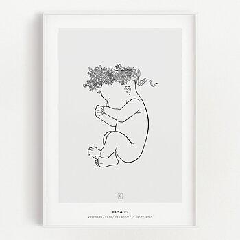 Bild på Elsa Crown födelsetavla på vägg