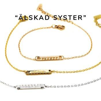 Personligt armband med gravyr Älskad Syster samt strass cubic zirconia likt diamant | Allergivänligt nickelfritt armband i guld, stål (silver) och rosé - guldigt armband för dam | C Stockholm smycken online