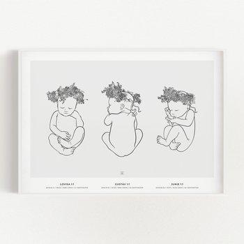Bild på Trio 1 födelsetavla på vägg