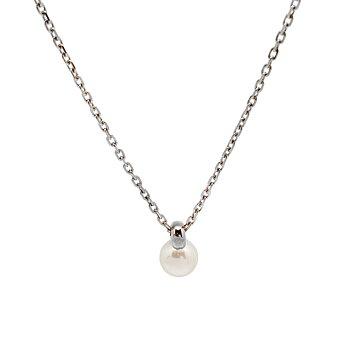 Nätt kort pärlhalsband i silver /  stål - silverhalsband / stålhalsband för dam | C Stockholm halsband online