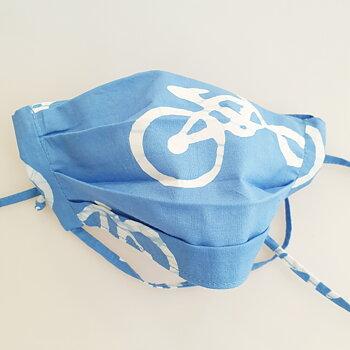 Munskydd tyg ekologisk bomull cykel blå