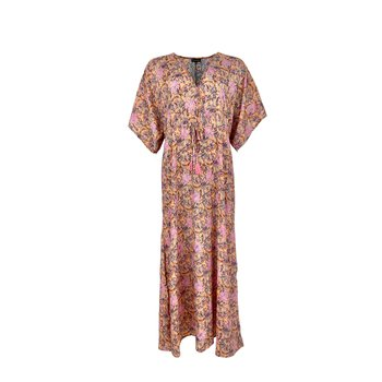 LUNA Kaftan Dress Pastel Peach - Black Colour (förhandsbokning)