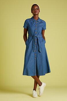 Olive denim dress
