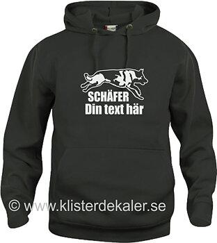 Hoody Schäfer med egen text, flera färgval