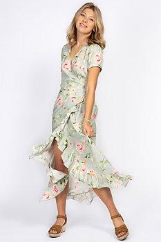BRIELLE DRESS SPRING GREEN/ROSE/SUN YELLOW