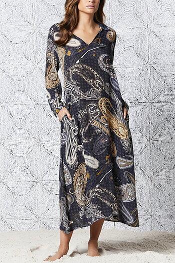 One Season - Long Iris Carmel Viscose Charcoal