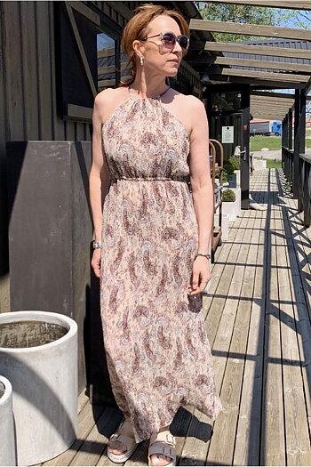 Nekane - Pleated Long  Dress Dusty Rose