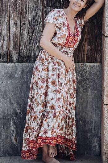 Coconutmilk By Stajl - Nafisa Dress Hibiscus Border Red