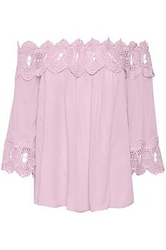 Cream Bea Lace Blouse Cameo Pink