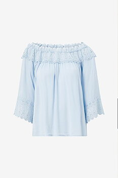 Cream Bea Lace Blouse Cashmere Blue