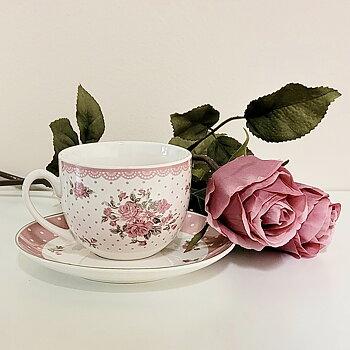 Kaffekopp Laura med fat Rosa