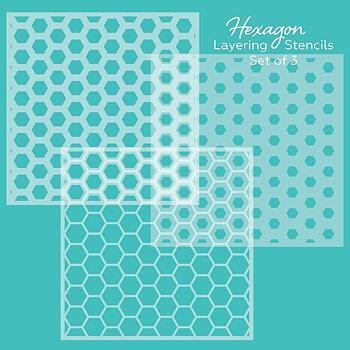 HONEY BEE STAMPS  -Hexagon Layering | Background Stencils | Set of 3