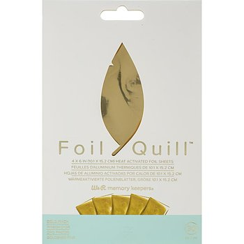 """We R Memory Keepers Foil Quill Foil Sheets 4""""X6"""" 30/Pkg Gold"""