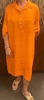 Moa Linneklänning Orange