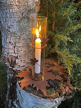 Ljusstake med glas på stav Lönn - Delbar
