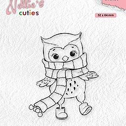 """Nellie's Christmas Cuties """"Owl with winter scarf"""" clear stamps"""