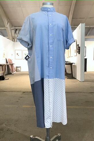 Skjortklänning, blå/vit