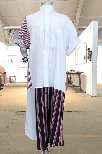 Skjortklänning, blå/vit/rand
