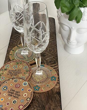 Glas underlägg Flower Power