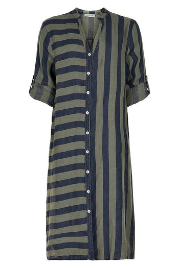 In Front - Lino Long Shirt Blue Stripes