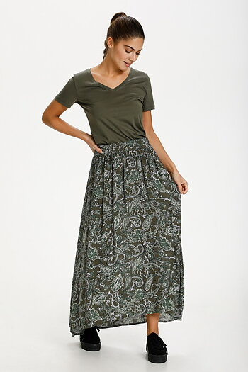 Kaffe - Evity Amber Skirt Green Paisley Print