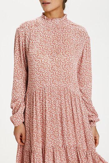 Kaffe - Lora Amber Dress Apricot / Chalk mini flower
