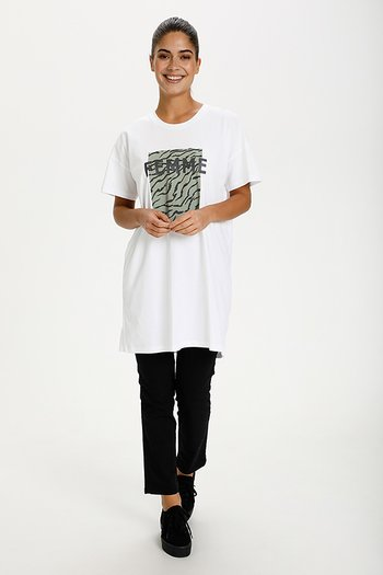 Kaffe - Ziama Long T-shirt Optical White