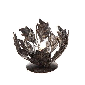 Ljuslykta blad, grå 15x13 cm