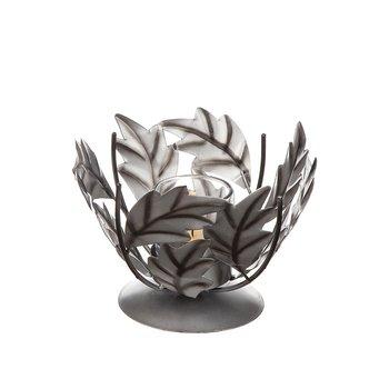 Ljuslykta blad, silver 15x13 cm