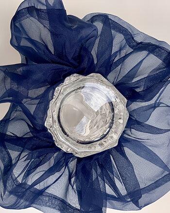 Hårsnodd Mörkblå Oversize scrunchie i organza