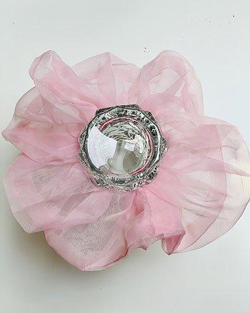 Hårsnodd Rosa Oversize scrunchie i organza