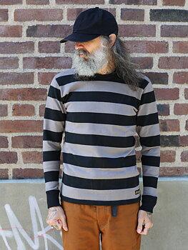 Iron Heart - 11oz Cotton Knit Long-Sleeved Sweater - Grey/Black