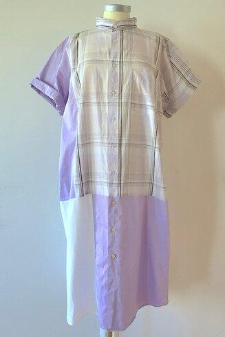 Skjortklänning, lila ruta