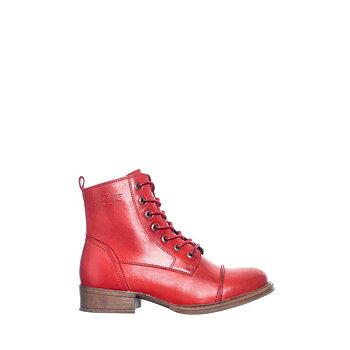 Klassiska kängor med blixtlås från Ten Points,modell Pandora. röd