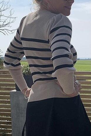 Neo Noir - Lanora Stripe  Knit Blouse Camel