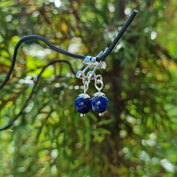 Lapis Lazuli Earrings September - 925 Sterling Silver