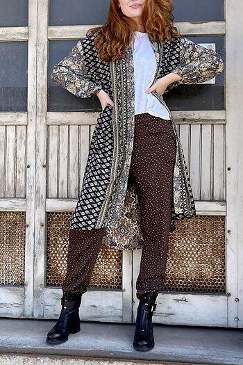 Black Color - Luna  Long Kimono Black Multi