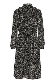 Lilly Ruffle Dress Black Animal Paint