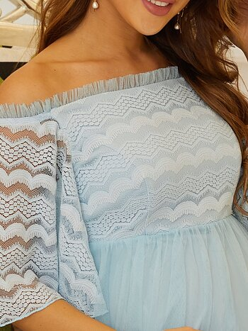 Söt babyblå gravid klänning