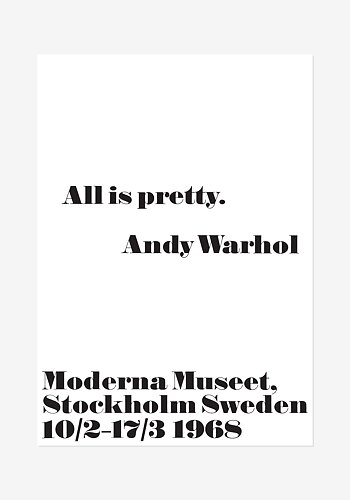 Poster, Andy Warhol, All is pretty