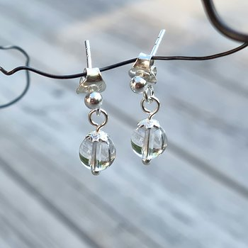 Rock Crystal Earrings - 925 Sterling Silver