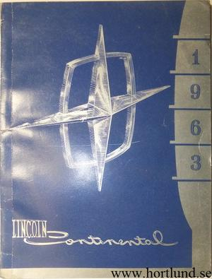 1963 Lincoln Continental Owners Manual