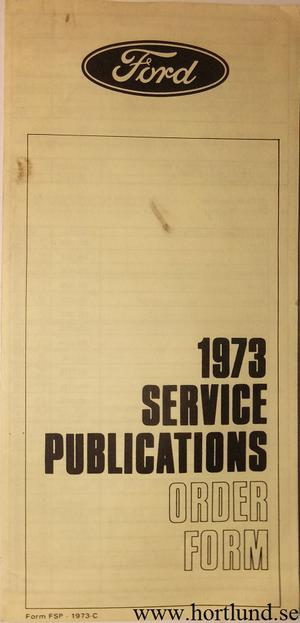 1973 FoMoCo Service Publications Order Form