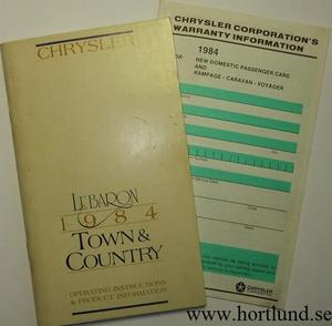 1984 Chrysler Le Baron och Town & Country Operating Instructions