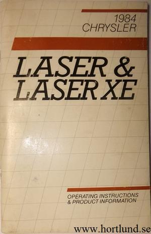 1984 Chrysler Laser & Laser XE Operating Instructions