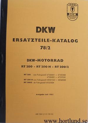 1951 - 1955 DKW RT 200, RT 200 H, RT 200/2 Reservdelskatalog
