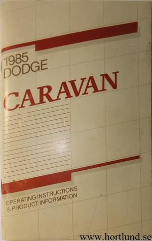 1985 Dodge Caravan Operating Instructions